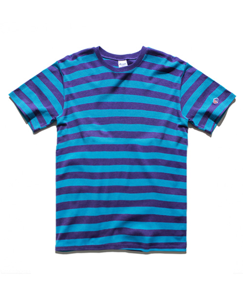 Color Mixed Stripe T-shirts Blue Purple