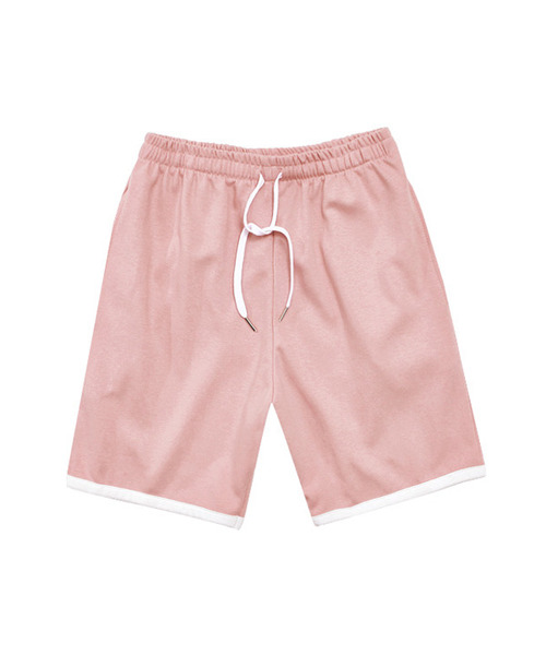 Rib Double Cotton Easy Pants Pink