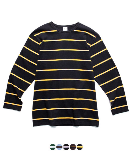 Narrow Stripe Long Sleeve T-Shirt Brown/Yellow