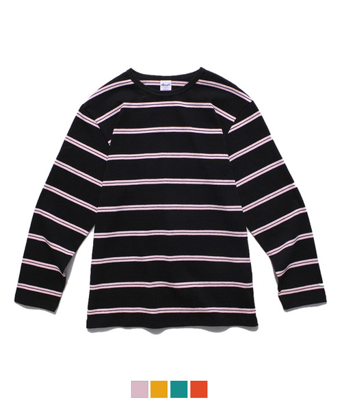 Color Stripe Long Sleeve T-Shirt Black/Pink