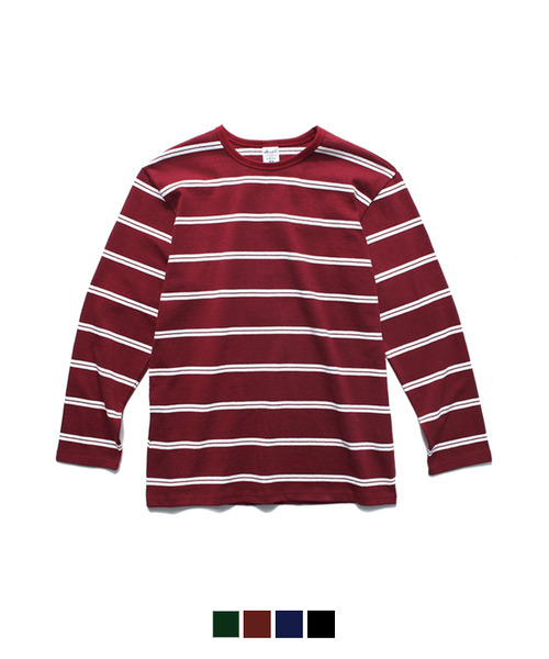 White Stripe Long Sleeve T-Shirt Burgundy