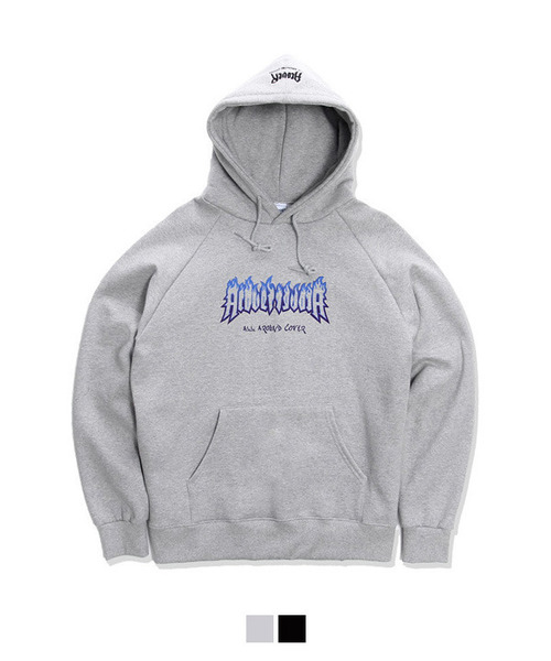 [1월23일 예약배송][기모안감] Burn Printing Over Fit Tumble Hoodie Gray