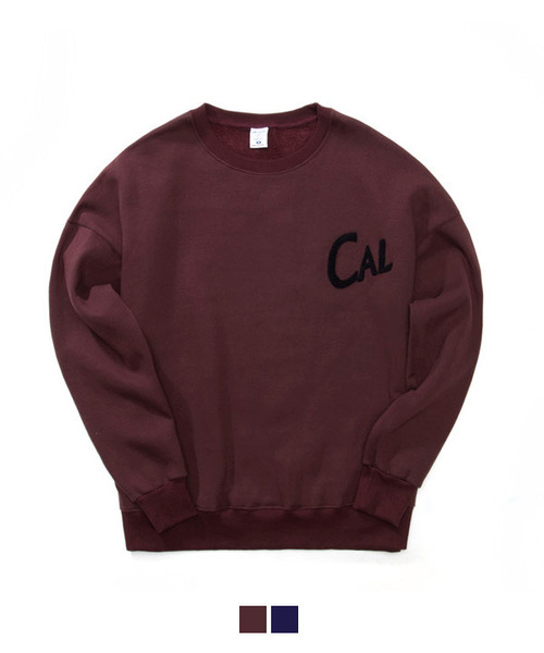[기모] Boucle Needlework Sweat Shirt Burgundy