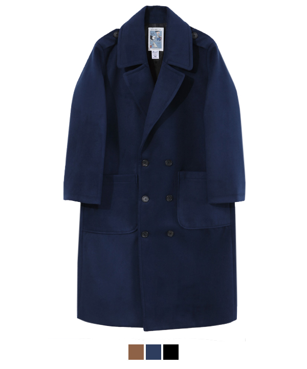 XX Lapel Double Breasted Coat Navy