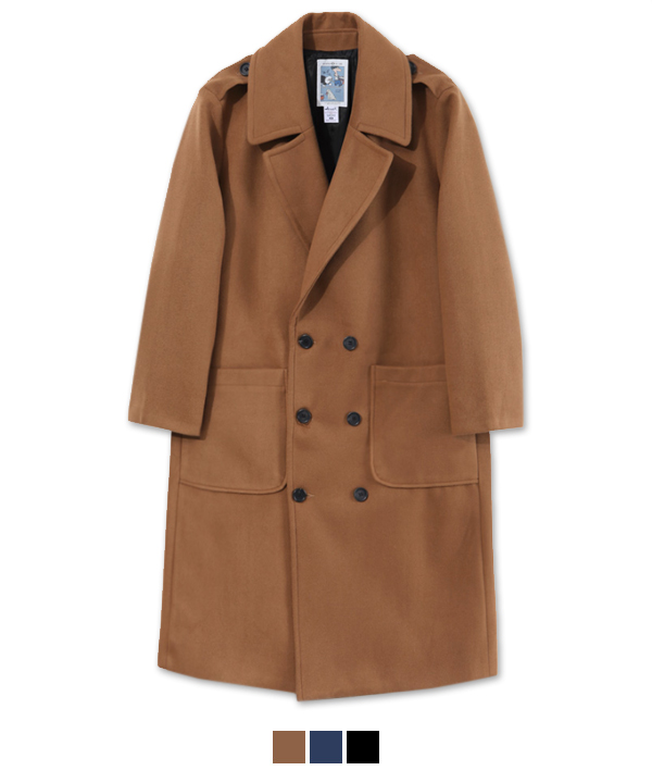XX Lapel Double Breasted Coat Beige