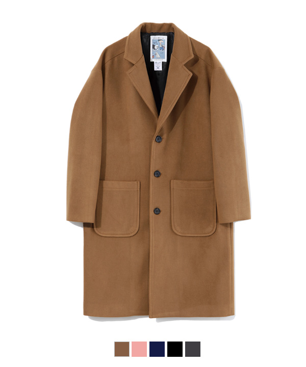 Pocket Wool Single Coat Beige