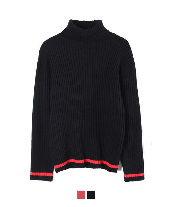 Line Turtleneck Knit Black