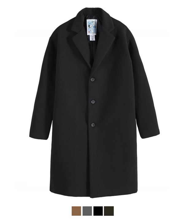 [1월23일 예약배송]Heavy Line Wool Single Coat Black