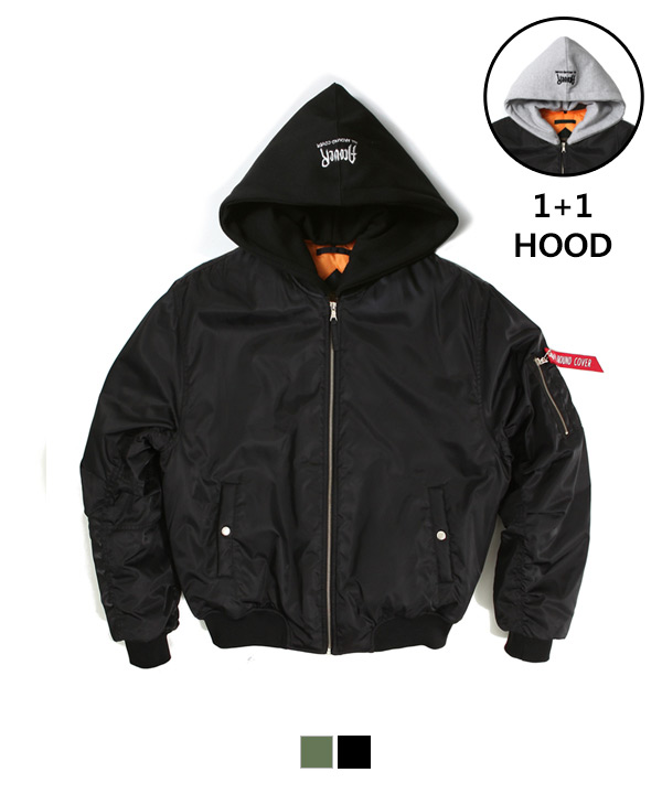 [1월23일 예약배송]Hood Shirring MA-1 Padding Jacket Black
