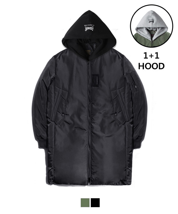 Hood Long MA-1 Padding Jacket Black