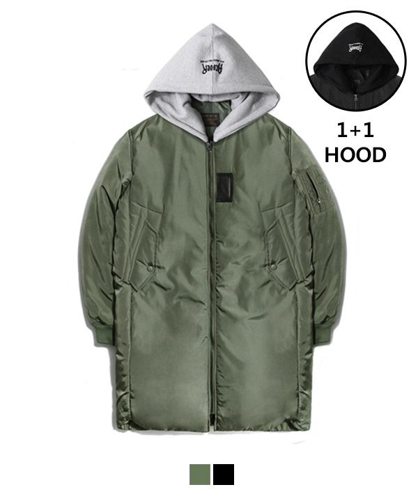 Hood Long MA-1 Padding Jacket Khaki