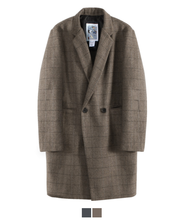 Check Herringbone Double Coat Brown