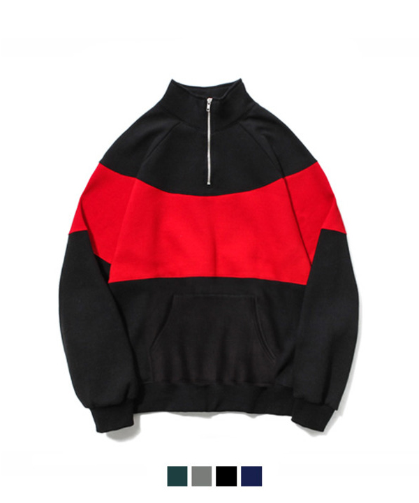 [기모] 90s Half Zip-up Sweat Shirt Black