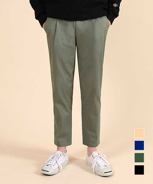 Regular Washed Cotton Pants Khaki
