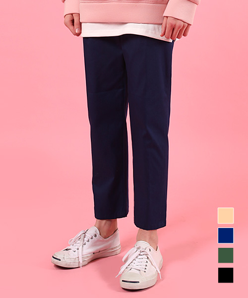 Regular Washed Cotton Pants Navy