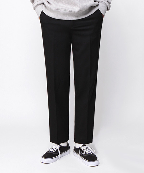 Wide Fit Ankle Slacks Black