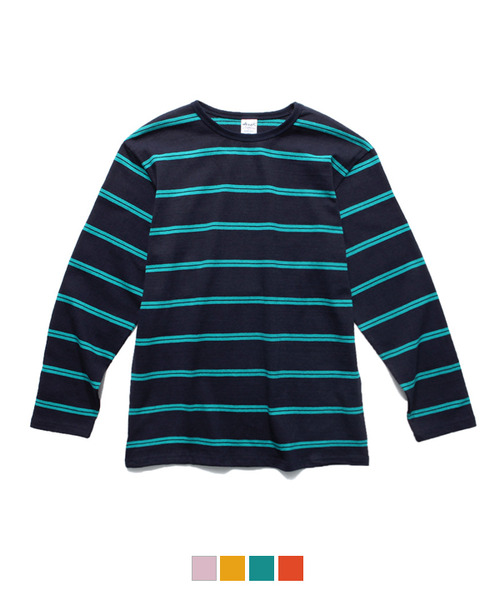 Color Stripe Long Sleeve T-Shirt Navy/Mint