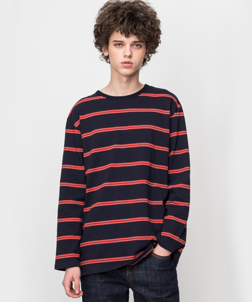 Color Stripe Long Sleeve T-Shirt Navy/Orange