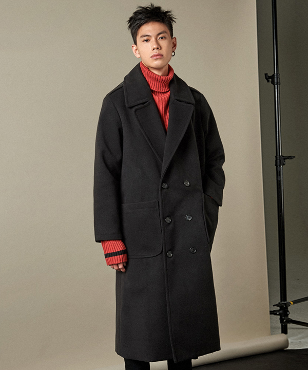 XX Lapel Double Breasted Coat Black