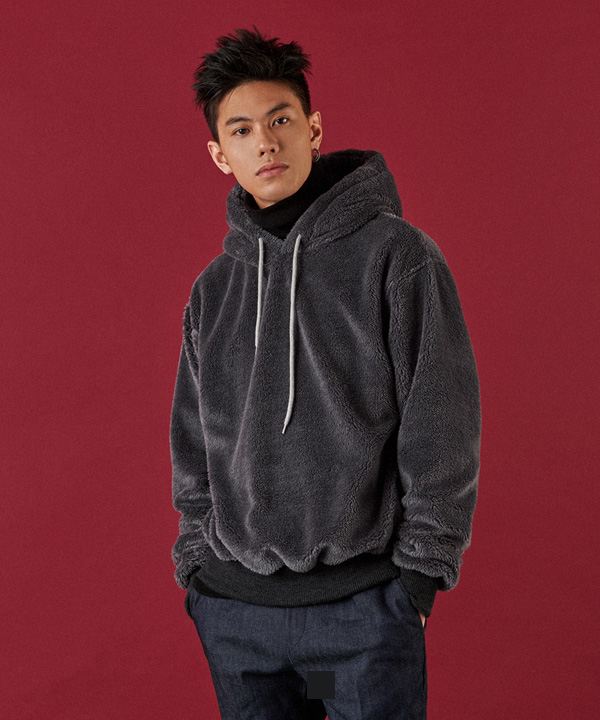 Pile Lined Series Hood T-Shirt Charcoal