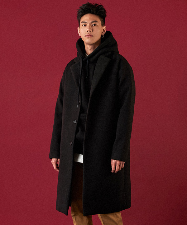 Heavy Line Wool Single Coat Black