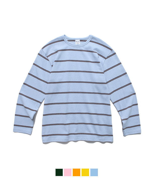 Narrow Stripe Long Sleeve T-Shirt Light Blue