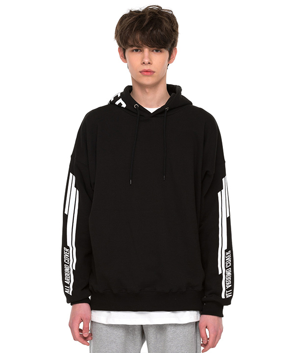 DOUBLE SIDE STRIPE GRAPHIC HOODIE BLACK