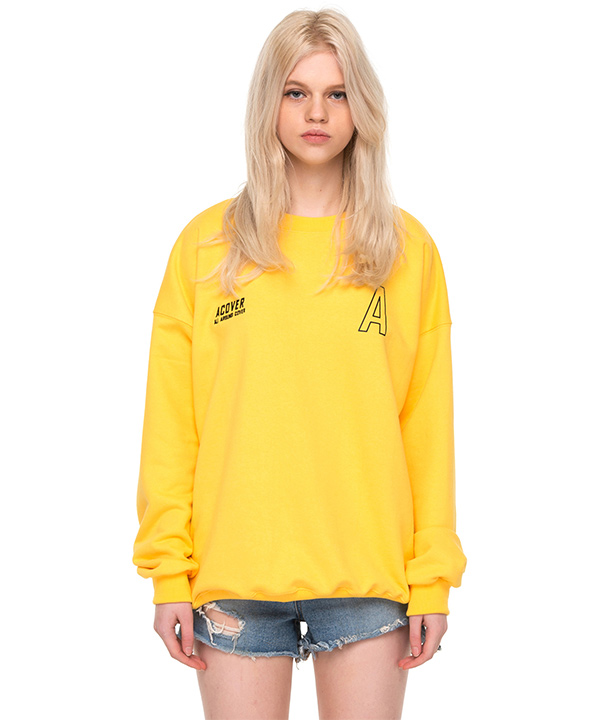 BE COLORFUL DROP SHOULDER SWEATSHIRTS YELLOW