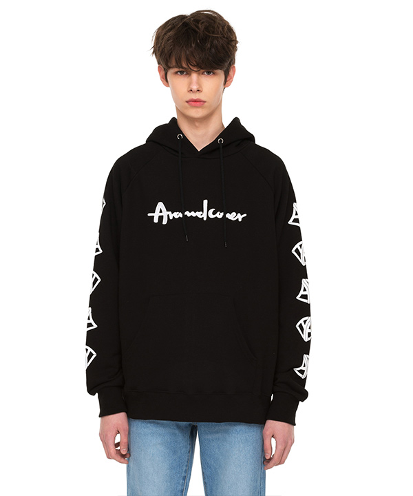 DOUBLE SIDE A LOGO GRAPHIC HOODIE BLACK