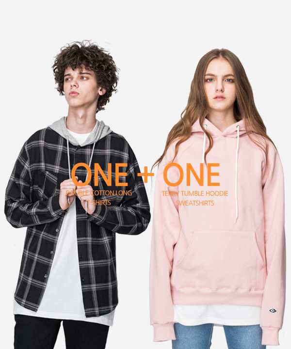 [5월4일예약배송][1+1] Terry Tumble Hoodie + Double Cotton Long T-Shirts