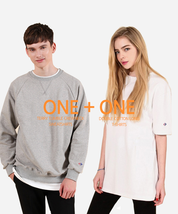 [5월4일예약배송][1+1] Terry Tumble Crewneck Sweatshirts + Double Cotton Long T-Shirts