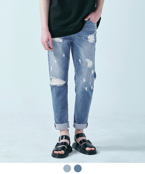 Dark Blue Damage Washed Denim