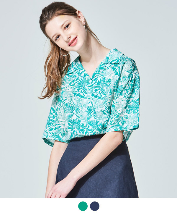 LEAF OPEN COLLAR HAWAIIAN SHIRTS