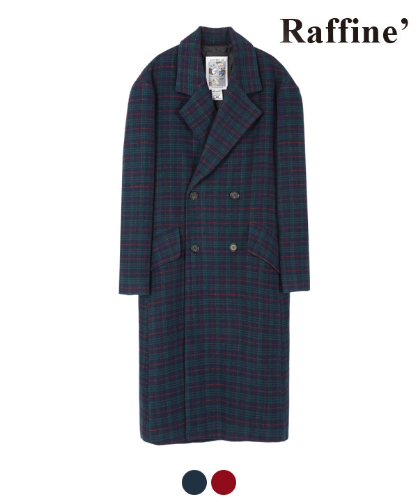 [12월 20일 예약발송]ARRANGEMENT CHECK DOUBLE COAT NAVY
