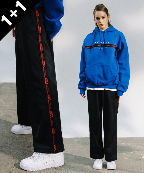 [1+1] BLACK TAPE HOODIE + BLACK TAPE TRACK PANTS