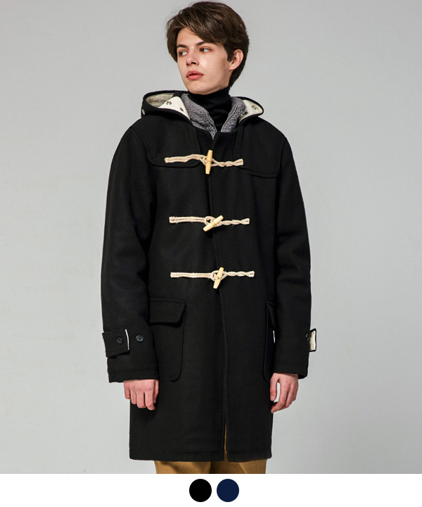 [12월19일 예약발송] WOOL BLEND DUFFLE COAT BLACK/NAVY