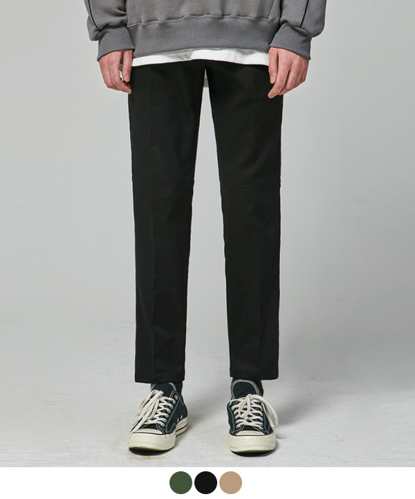 [기모] Slim Straight Cotton Pants