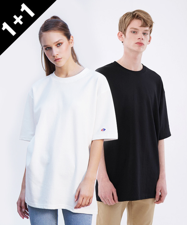 [1+1]Double Cotton Long T-Shirts+5부 Over Fit Double Cotton T-Shirts