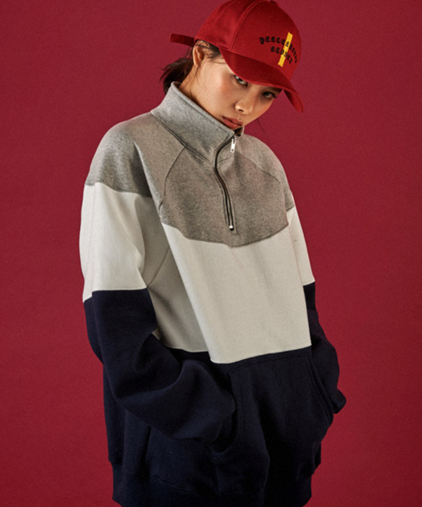 [기모] 90s Half Zip-up Sweat Shirt Gray